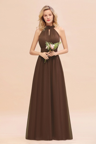 Glamorous High-Neck Halter Bridesmaid Affordable Dresses with Ruffle_12