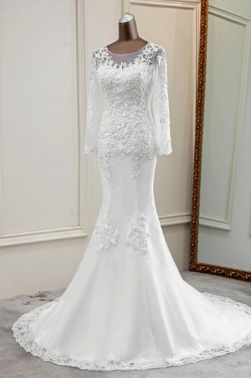 BMbridal Elegant Jewel Lace Mermaid White Wedding Dresses Long Sleeves Appliques Bridal Gowns_4