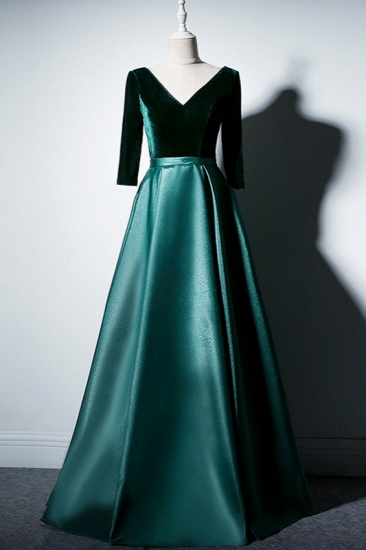 Elegant V-Neck Satin A-Line Prom Dresses Long Sleeves Party Dresses On Sale