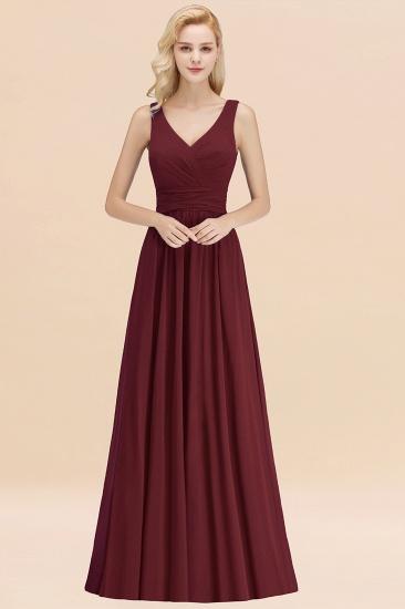 Modest Sleeveless V-Neck Long Chiffon Bridesmaid Dress Online with Ruffle_10