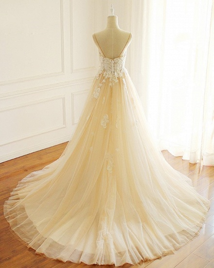 BMbridal Gorgeous Sweetheart Creamy Tulle Wedding Dress Spaghetti Straps Sweep Train Bridal Gowns On Sale_3