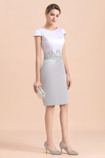 Elegant Silve Short Mother Of the Bride Dress Knee-Length Wedding Party Gowns_9