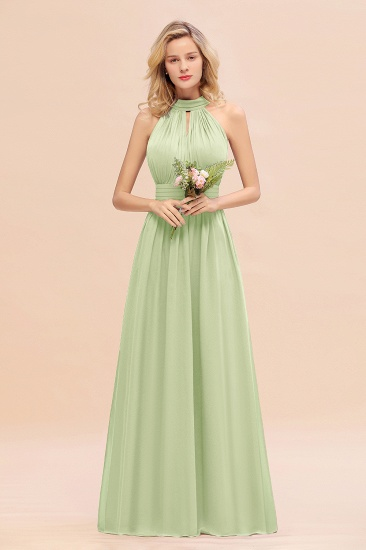 Glamorous High-Neck Halter Bridesmaid Affordable Dresses with Ruffle_35