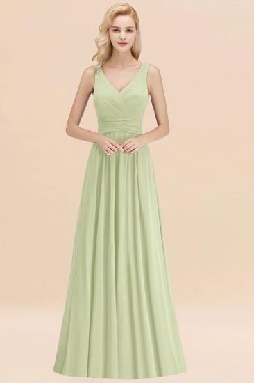 Modest Sleeveless V-Neck Long Chiffon Bridesmaid Dress Online with Ruffle_35