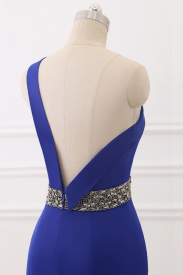 Chic One-Shoulder Sleeveless Mermaid Prom Dresses with Beadings Sash On Sale_7