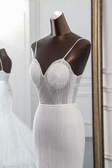 BMbridal Sexy Tulle Spaghetti Straps Mermaid White Wedding Dresses with Rhinestones Online_6