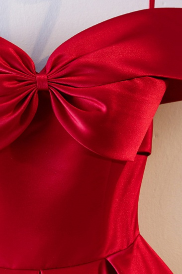 Simple Off-the-Shoulder Satin Red A-Line Prom Dresses Sleeveless Ruffles Evening Dresses Online_5