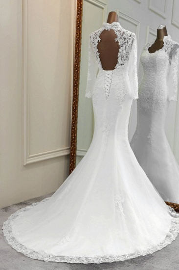 BMbridal Elegant Long Sleeves Lace Mermaid Wedding Dresses Appliques White Bridal Gowns with Beadings_3