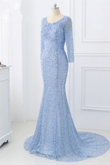 BMbridal Sparkly Sequined Jewel Mermaid Prom Dresses with Long Sleeves Online_4