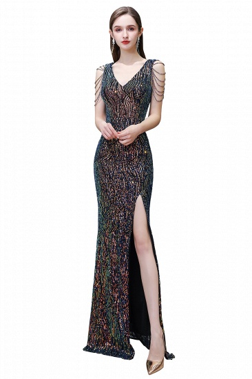 BMbridal Sexy V-Neck Sequins Prom Dress With Split Long Evening Gowns_1
