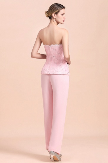 Elegant Strapless Appliques Mother of Bride Jumpsuit with Long Sleeves Wraps_13