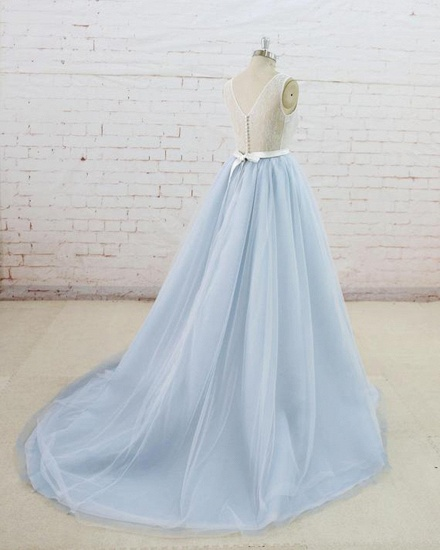 Gorgeous Light Blue Tulle Lace Wedding Dress Sheer Back Summer Bridal Gowns On Sale_4
