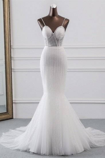 BMbridal Sexy Tulle Spaghetti Straps Mermaid White Wedding Dresses with Rhinestones Online_1