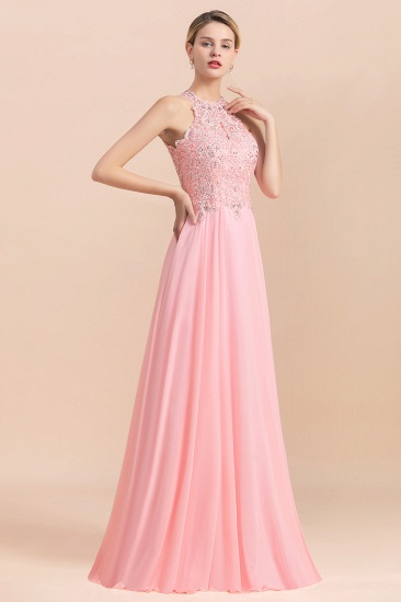 BMbridal A-line Chiffon Lace Ruffles Bridesmaid Dress with Beadings_5