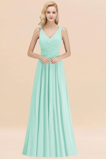 Modest Sleeveless V-Neck Long Chiffon Bridesmaid Dress Online with Ruffle_36