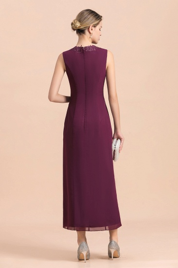 BMbridal Elegant V-Neck SLeeveless Apppliques Grape Mother of Bride Dress with Wraps_11