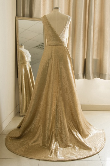 BMbridal Stylish Jewel Gold Sequined A-Line Prom Dresses Sleeveless White Appliques Evening Dress with Beadings_3