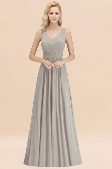 Modest Sleeveless V-Neck Long Chiffon Bridesmaid Dress Online with Ruffle_30