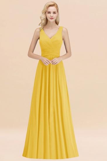 Modest Sleeveless V-Neck Long Chiffon Bridesmaid Dress Online with Ruffle_17