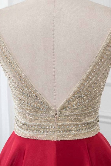 BMbridal Glamorous V-Neck Rhinestone Burgundy Mermaid Prom Dresses with Cold Sleeves Online_7