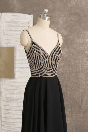 BMbridal Sexy Spaghetti Straps V-Neck Black Prom Dresses Sleeveless with Ruffles Beadings On Sale_6