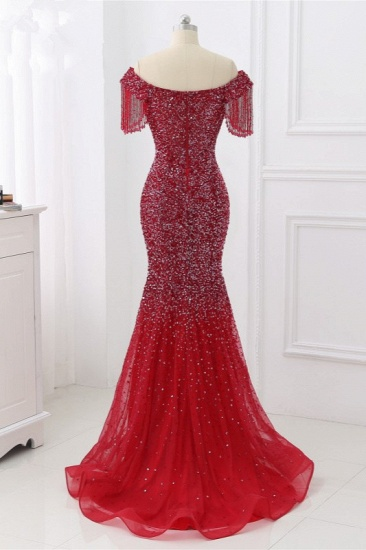 Luxury Off-the-Shoulder Sequins Burgundy Mermaid Prom Dresses with Tassels_3