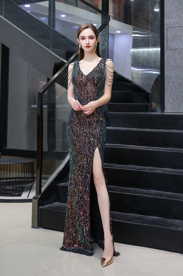 Sexy V-Neck Sequins Prom Dress With Split Long Evening Gowns