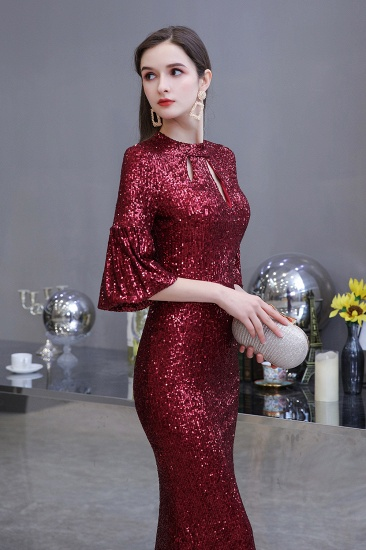 BMbridal Burgundy Half Sleeve Sequins Prom Dress Long Party Gowns Online_4