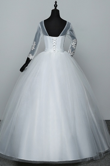 BMbridal Gorgeous Jewel Tulle Lace White Wedding Dresses 3/4 Sleeves Appliques Bridal Gowns On Sale_3