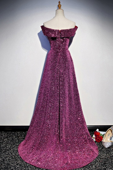 Sparkly Sequined Off-the-Shoulder Prom Dresses Sweetheart Sleeveless A-Line Evening Dresses On Sale_3