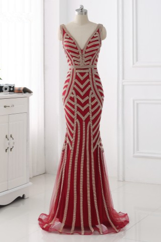 BMbridal Elegant Gold Tulle V-Neck Sleeveless Prom Dresses with Beadings On Sale_6