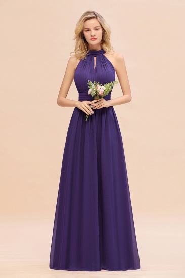 Glamorous High-Neck Halter Bridesmaid Affordable Dresses with Ruffle_19