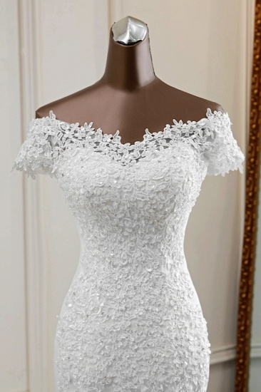 BMbridal Glamorous Sweetheart Lace Beading Wedding Dresses Short Sleeves Appliques Mermaid Bridal Gowns_6
