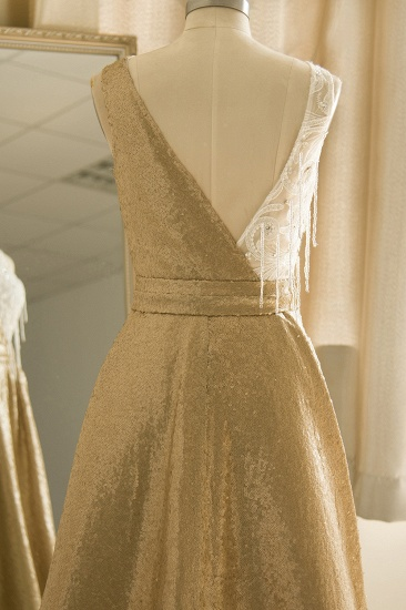 BMbridal Stylish Jewel Gold Sequined A-Line Prom Dresses Sleeveless White Appliques Evening Dress with Beadings_7