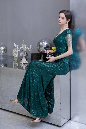 BMbridal Elegant Cap Sleeve Green Prom Dress Sequins Long Evening Gowns Online_12
