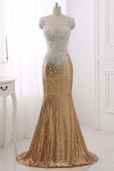Sparkly Sequined V-Neck Burgundy Mermaid Prom Dresses with Rhinestone Top_7
