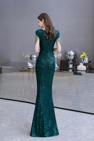 BMbridal Elegant Cap Sleeve Green Prom Dress Sequins Long Evening Gowns Online_3