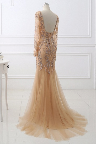 Elegant Tulle Appliques Mermaid Prom Dresses V-Neck Sleeveless Rhinestones Party Dresses On Sale_5