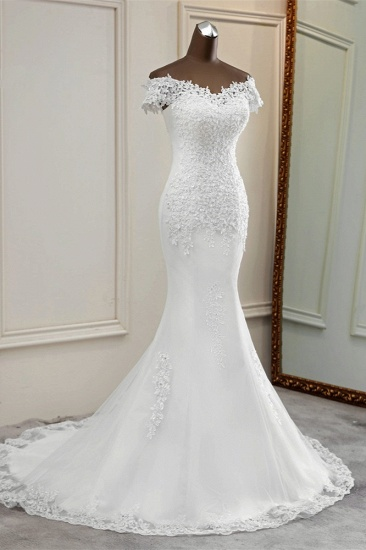 BMbridal Glamorous Sweetheart Lace Beading Wedding Dresses Short Sleeves Appliques Mermaid Bridal Gowns_5