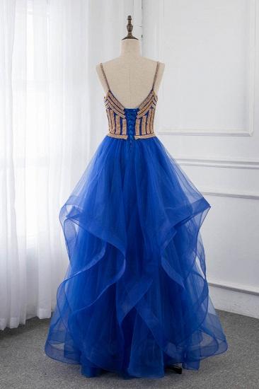 Elegant Spaghetti Straps V-Neck Sleeveless Prom Dresses with Rhinestone Ruffles_3