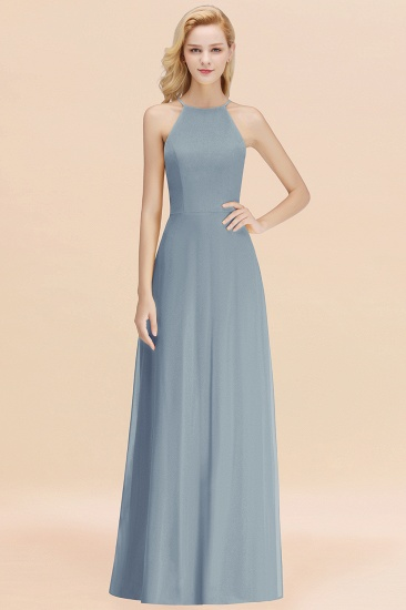 Modest High-Neck Yellow Chiffon Affordable Bridesmaid Dresses Online_40
