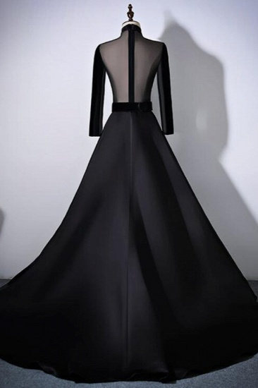 BMbridal Chic V-Neck Ruffles Black A-Line Prom Dresses Long Sleeves Evening Dresses with Sash_6
