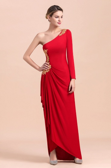 Chic One-Shoulder Long Sleeves Ruffle Mother of Bride Dresses with Appliques