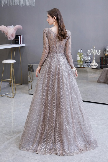 BMbridal Sexy V-Neck Long Sleeve Prom Dress Appliques A-Line Evening Gowns_3