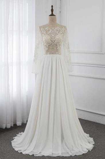 Affordable Jewel Chiffon Ruffles Wedding Dresses Lace Top Long Sleeves Bridal Gowns Online