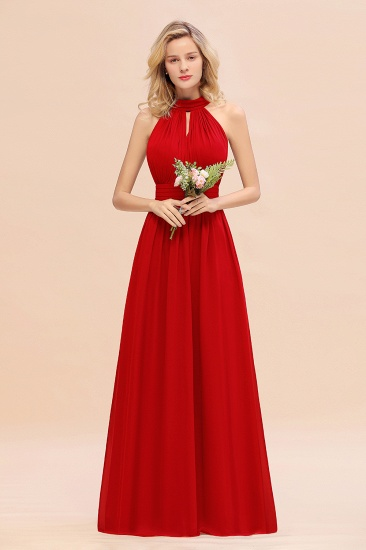 Glamorous High-Neck Halter Bridesmaid Affordable Dresses with Ruffle_8
