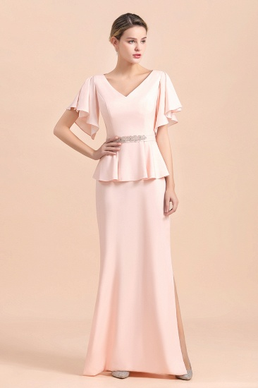 Glamorous V-Neck Front Slit Mother of Bride Dresses with Beadings Sash