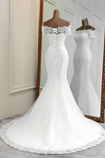 Gorgeous Off-the-Shoulder Lace Mermaid Wedding Dresses Short Sleeves Rhinestons Bridal Gowns_3