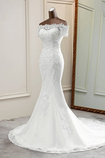 Gorgeous Off-the-Shoulder Lace Mermaid Wedding Dresses Short Sleeves Rhinestons Bridal Gowns_5