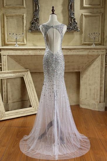 BMbridal Glamorous Straps V-Neck Tulle Beadings Prom Dresses Sleeveless Mermaid Crystals Formal Dresses Online_3